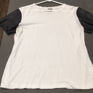 White tee with faux leather sleeves